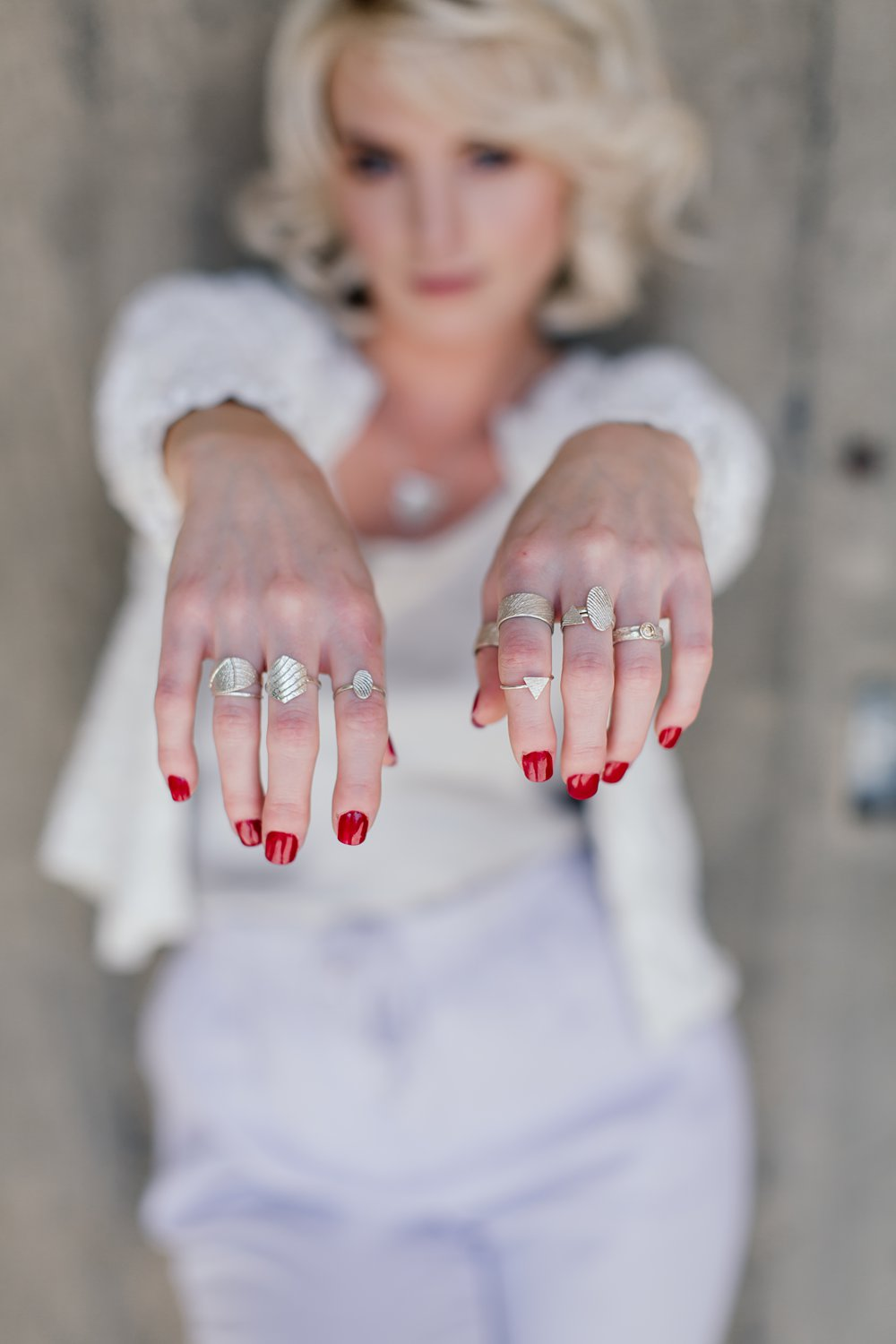 Model's hands wearing Foundri rings