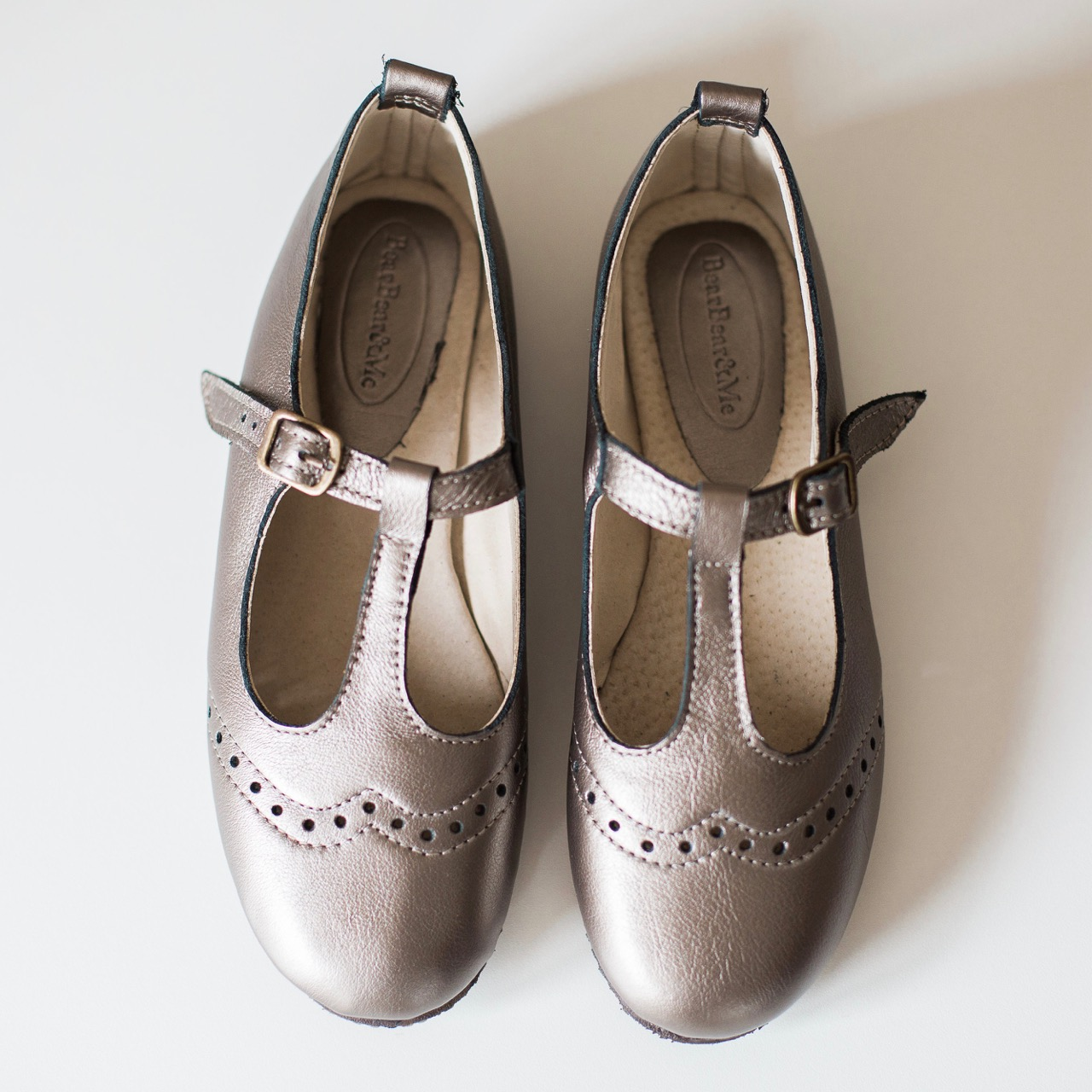 Ladies Pewter Mary Janes with broguing - LMJ3