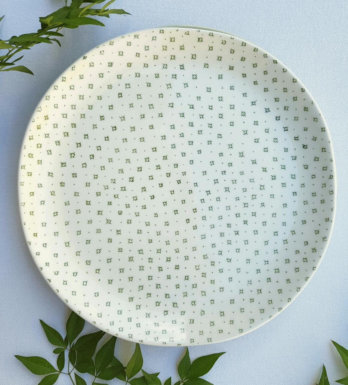 Wonky dinner plate in grey, dusty pink, green, white or compass circle pattern or cactus pattern. 
