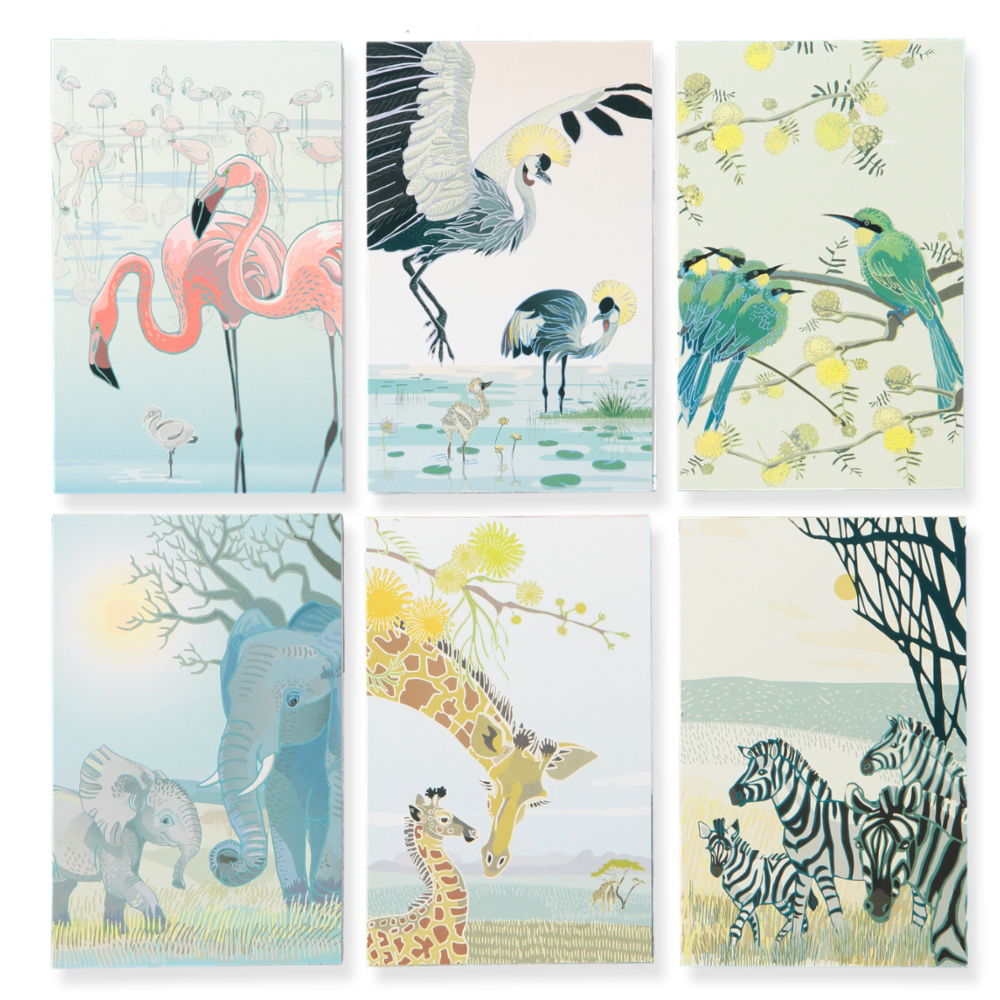 New notepads with 72 tear-off pages and THREE repeating designs; our favourite animals take turns to hold the front cover. 