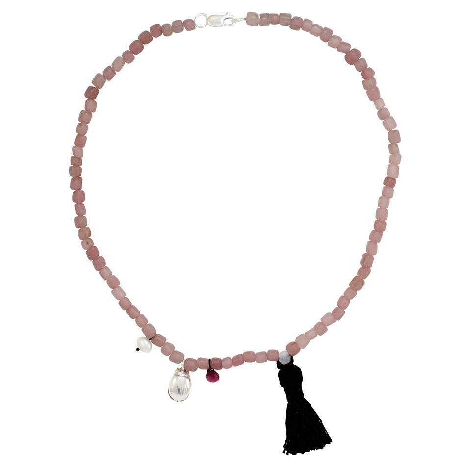 Sterling Silver Beetle with glass beads, a tassel, a freshwater pearl and a facetted Rhodolite Garnet Bead.