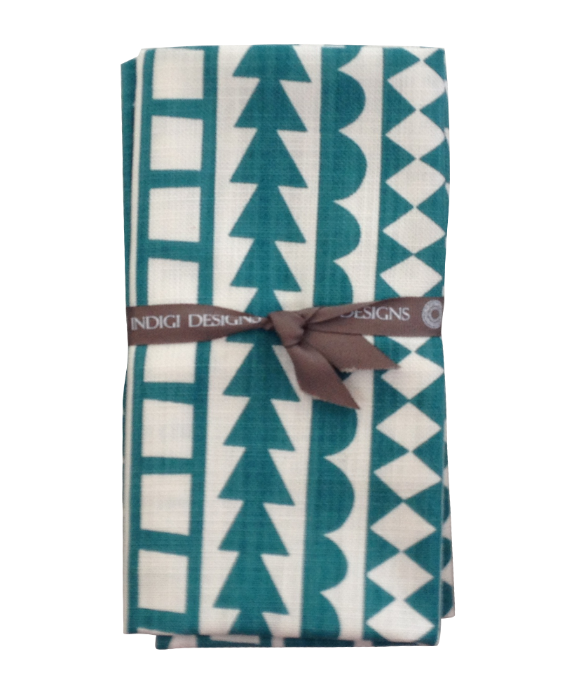 Napkins - Tribal Stripe (Teal on White)