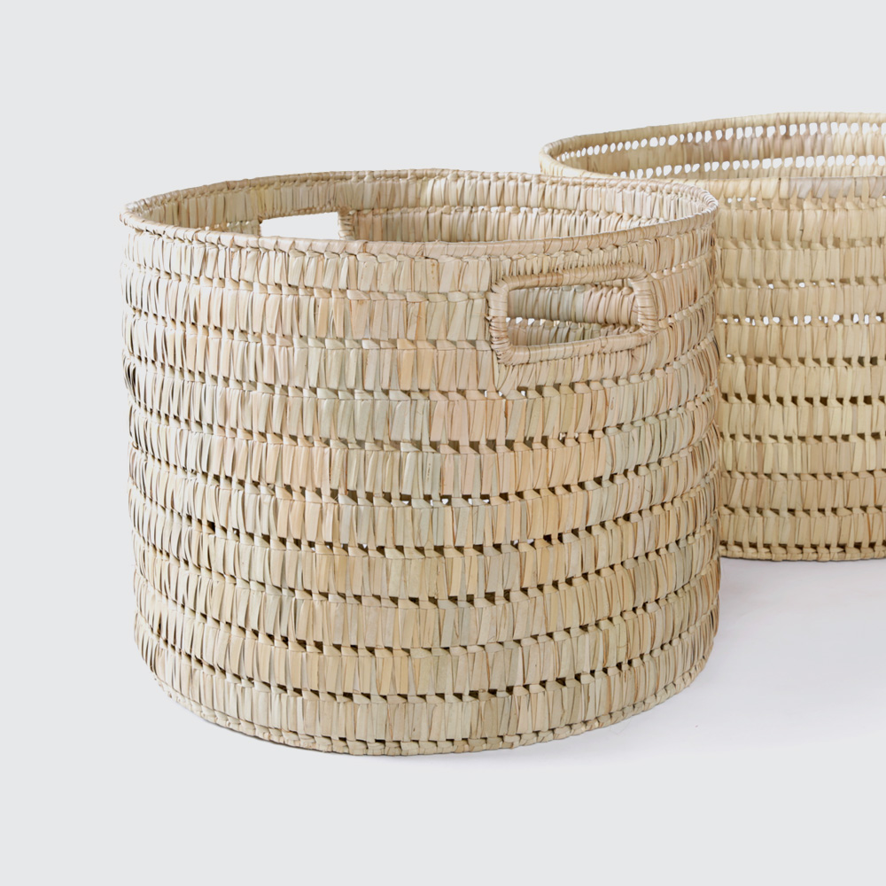 A light, round basket with a medium weave and an open, airy feel. Small side handles are handy for moving around. Smaller sizes are great for knick knacks, larger sizes are great for storing things that need to breathe, like clean laundry.  REQUEST DETAILS  Product code & Dimensions  9 Size Options:   BG/BFUN 1 600mm (d) x 400mm (h) BG/BFUN 2 550mm (d) x 380mm (h) BG/BFUN 3 500mm (d) x 380mm (h) BG/BFUN 4 450mm (d) x 350mm (h) BG/BFUN 5 400mm (d) x 350mm (h) BG/BFUN 6 350mm (d) x 350mm (h) BG/BFUN 7 300mm (d) x 300mm (h) BG/BFUN 8 250mm (d) x 250mm (h) BG/BFUN 9 200mm (d) x 200mm (h)