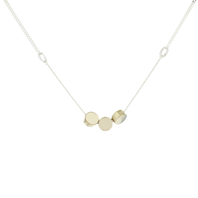 Three polished brass circles (each measuring 0.5 x 0.5cm) on sterling silver chain, 17.5cm long.