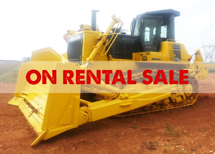 BRAND: Komatsu MODEL: D375-5 YEAR: 2008 HOURS: 19000 Frame Hours  Refurbished unit. Full Komatsu Technical Analysis Test Certificate. This is not a rebuild, but rather a very clean machine with excellent undercarriage and any necessary repairs done.  R4,200,000 ex vat