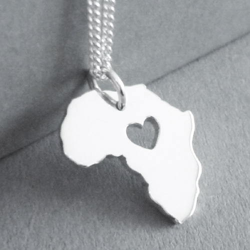 Sterling silver handmade Africa heart pendant