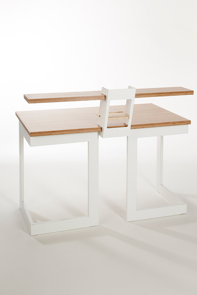 Rest Desk makes use of a simple slot and rest assembly, utilizing material weight and precise tolerances to hold components together. The leg design allows for multiple set up configurations and creates maximum under desk leg space, its modular shape allows for stack ability.