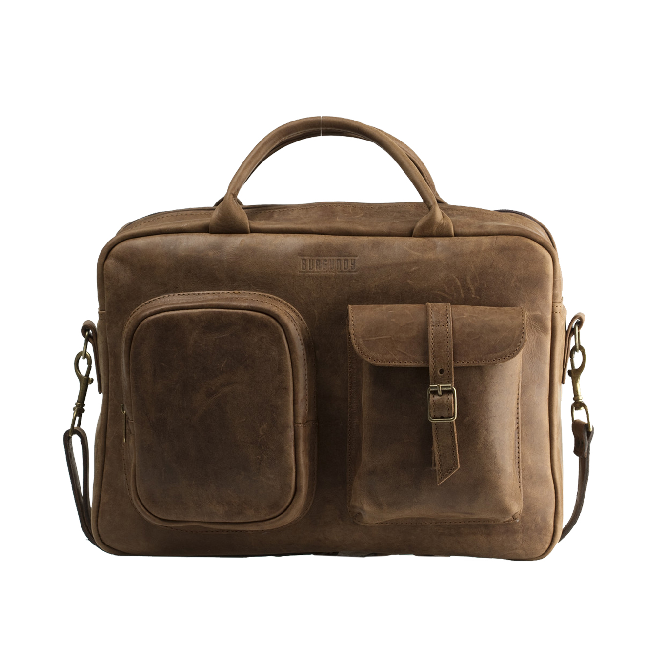 The Business Briefcase is beautifully crafted and will make a statement in the working place. Perfect to hold your laptop, files and books with exterior pockets for extras.    FEATURES:   Exterior zip pocket with leather trimmings Interior padded foam lining for laptop protection Light brown cotton canvas lining Interior zip pocket with leather trimmings Two interior file pockets suitable for mobile phone, keys and a wallet     DIMENSIONS :  H 30cm x W 40cm x D 15cm