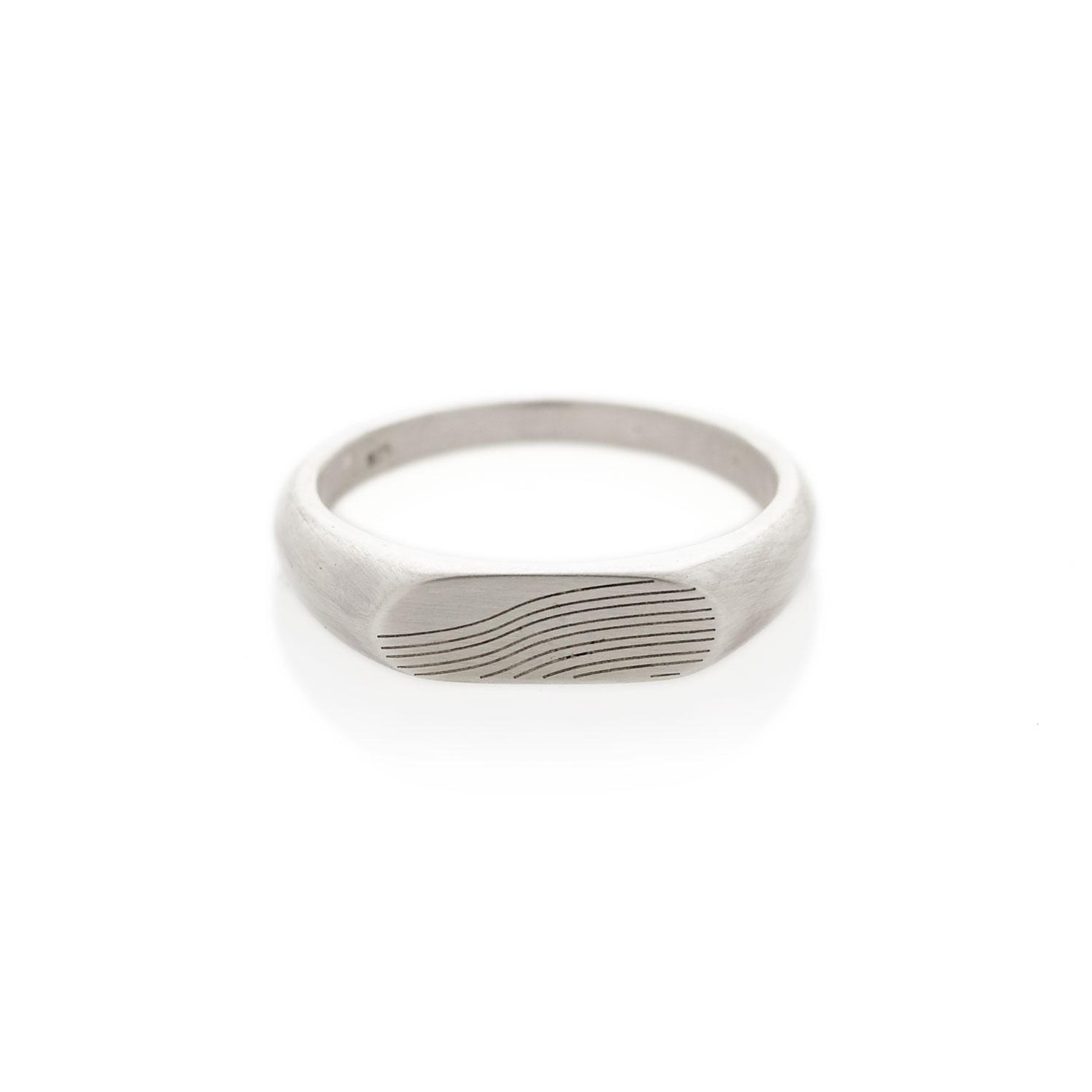 Slope silver landscape signet ring