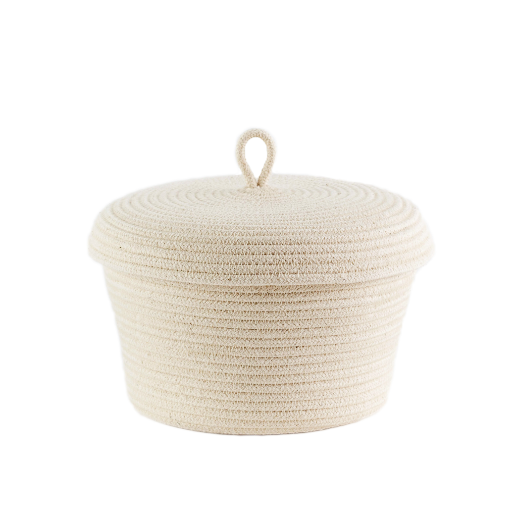 Lidded Basket - ivory