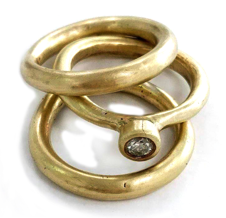 set of 3 brass rings set with 3mm diamond  available in gold, brass, silver and riced according to metal used  welcome to use your own diamond in ant size