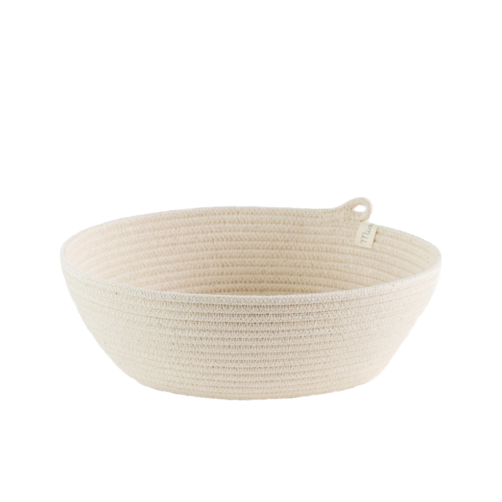 These are natural cotton baskets. They are available in three sizes that nestle into each other. Use them in your bathroom, as a jewelry holder, as a fruit or bread basket, or really for anything else you can think of!
