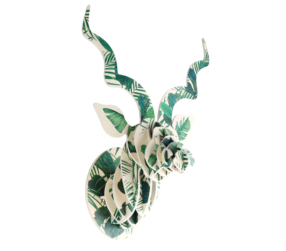 Kudu Trophy Head with Luscious Leaf print