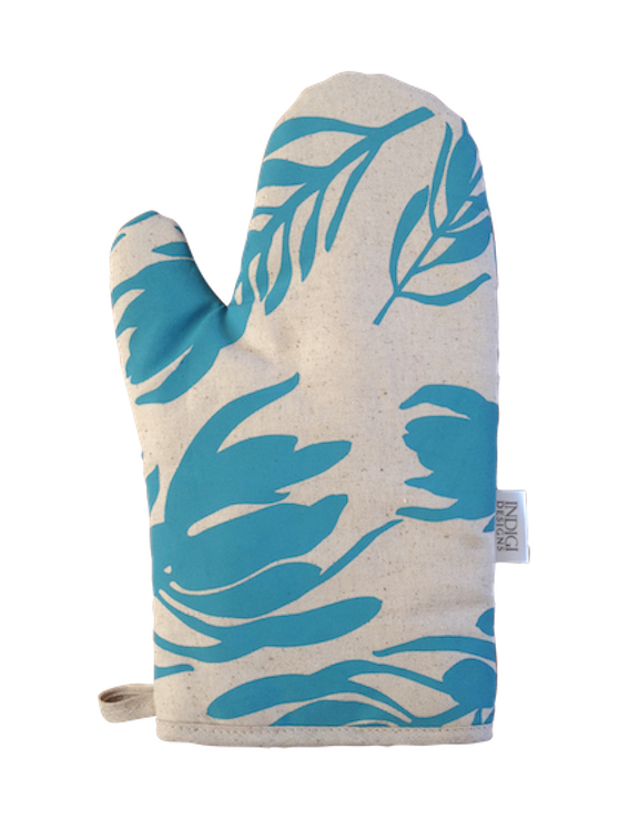 Oven Glove - Conebush (Aqua on Natural)