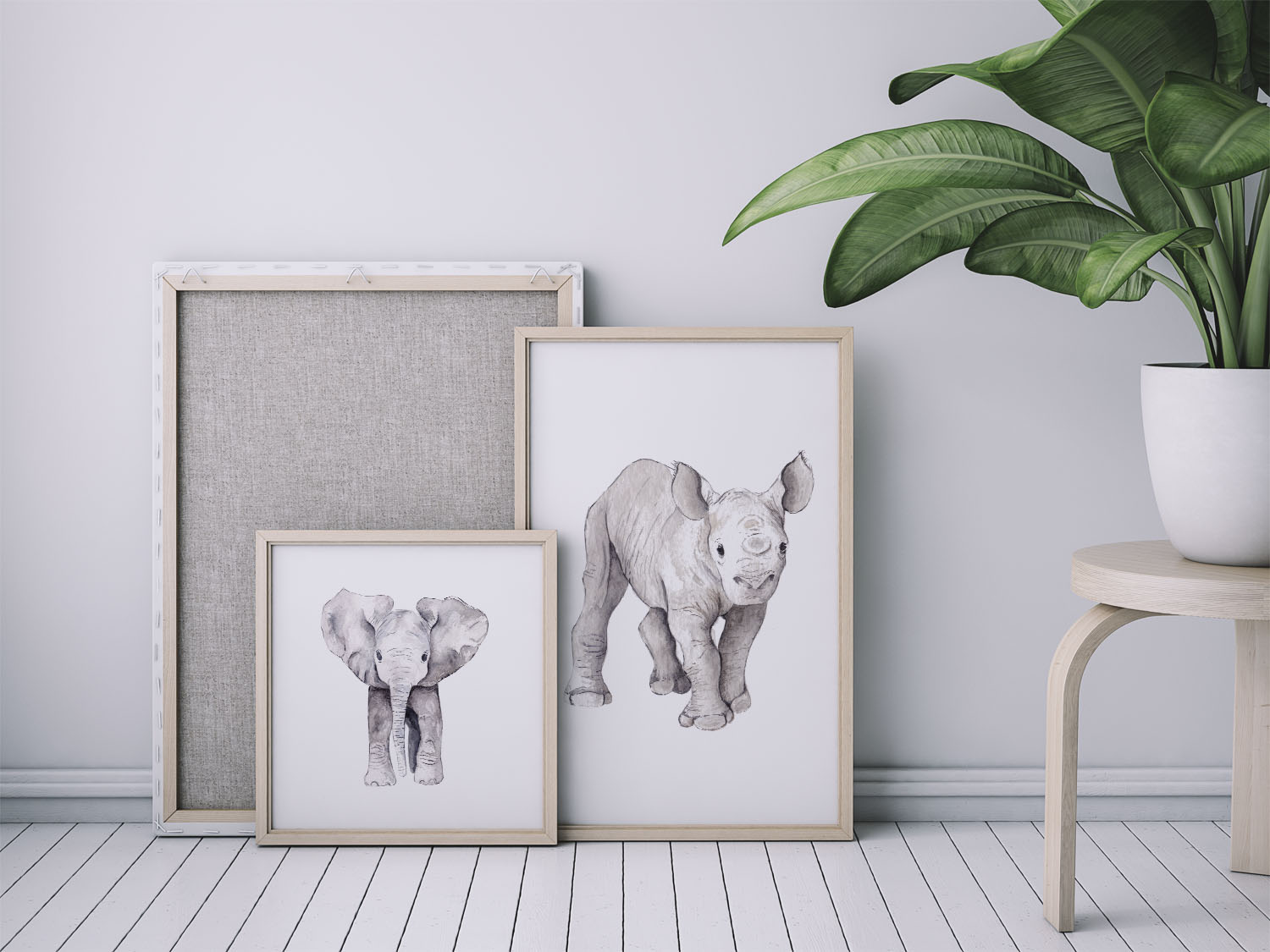 Watercolour art print of 4 cute baby animals: elephant, rhino, giraffe or lion Limited Edition, only 50 prints each  Size: A4 or A3 (unframed) Please give 1-2 weeks production,as it's printed on demand  Printed on thick textured white paper (Natural Evolution 280 g - acid free (shipped flat)  Individually signed with a pencil in the right hand corner.  ** Please don't use pictures as reference to size - this is only for presentation.