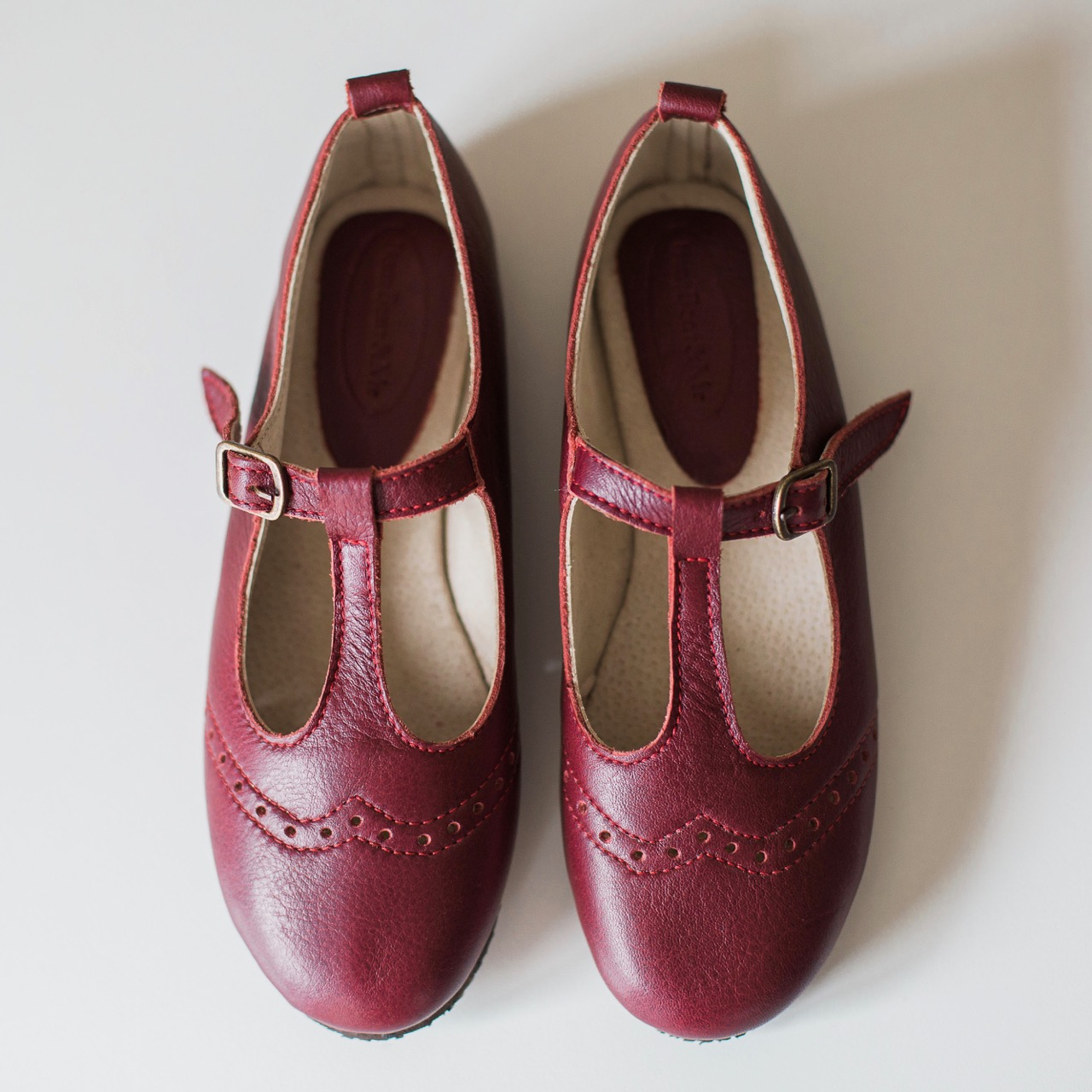 Ladies Burgundy Mary Janes with broguing - LMJ6