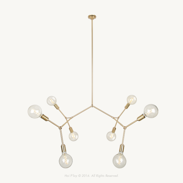"The MOLECULE 8, an elegant ""chandelier"" type light that is inspired by scientific molecular diagrams is now available for shipping. However these are also available in 2, 4 and 16 bulb sockets. - Flat pack dimension is 1320 mm x 870 mm x 90 mm- Finished product approximate dimension is 1200 mm (l) x 500 mm (w) x 600 mm (h) (excluding the drop stem)- We offer 3 different lengths for the drop stem. Please indicate which of the three suits your space the most.  Drop stem length : 30 cm 