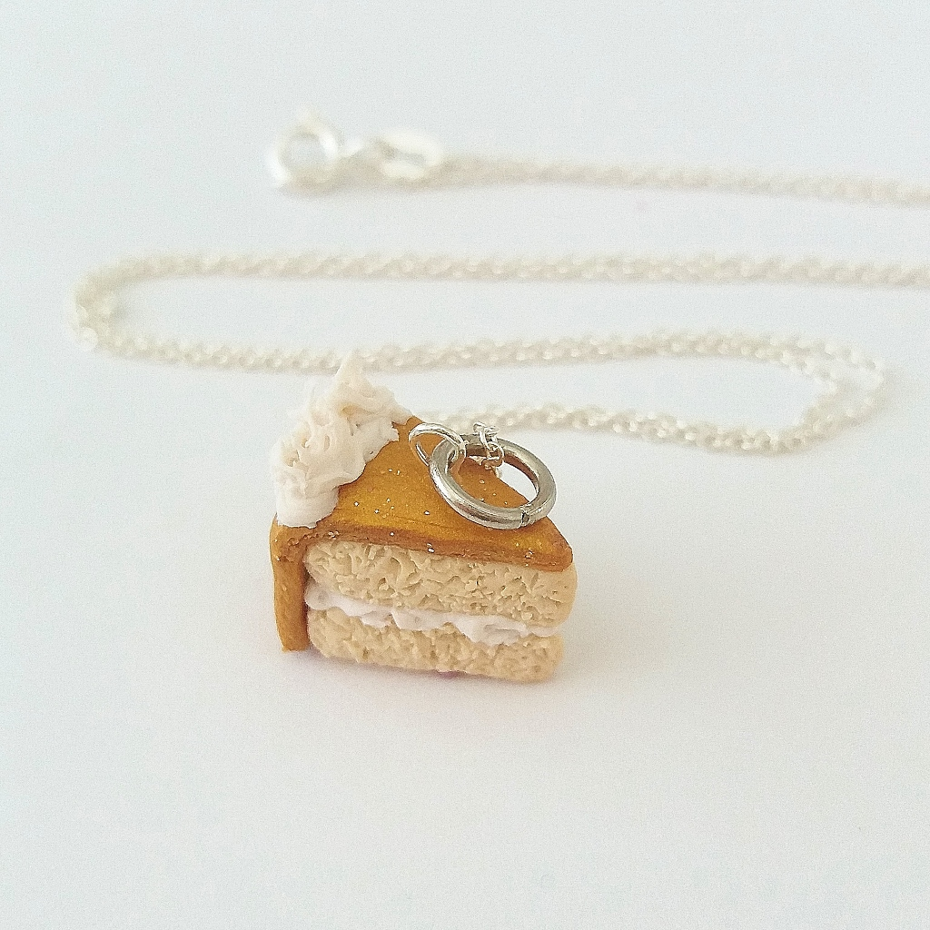 Bronze Vanilla cake Charm/ Necklace