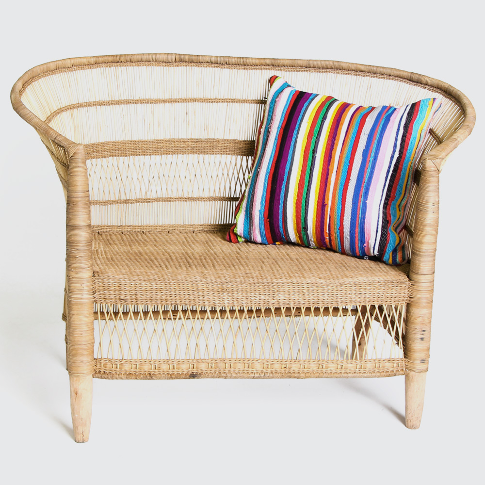 The Malawian Chair for two. Incredibly comfortable even without a additional cushioning. Easily paired with other furniture, great on a covered patio.