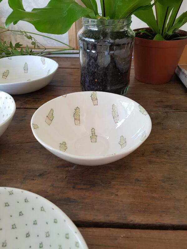Smaller than the cookie bowl. Ideal size for dessert, morning fruit and joghurt and chocolates after dinner. 