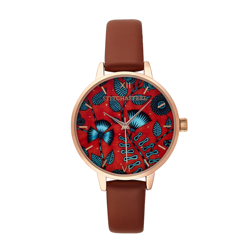 Take a leaf out of African with this passion inspiring print. Bright and bold are but a few words you can expect to be called when you are seen wearing this African timepiece. This is an elegant way to include the colour of love and passion to your everyday outfit or that special night out. Paired with a plain or fun outfit, it will definitely brighten your day.    Women's Wrist Watch by Stitch&Steel  38mm Diameter Dials Slim face silhouette Rose Gold Plated buckle, case and dials 6&12 Roman numerals Japanese Quartz Movement Stitch&Steel branding on face and engraved underneath case