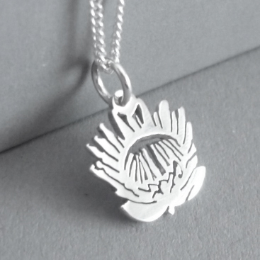 Sterling silver tiny Protea pendant.