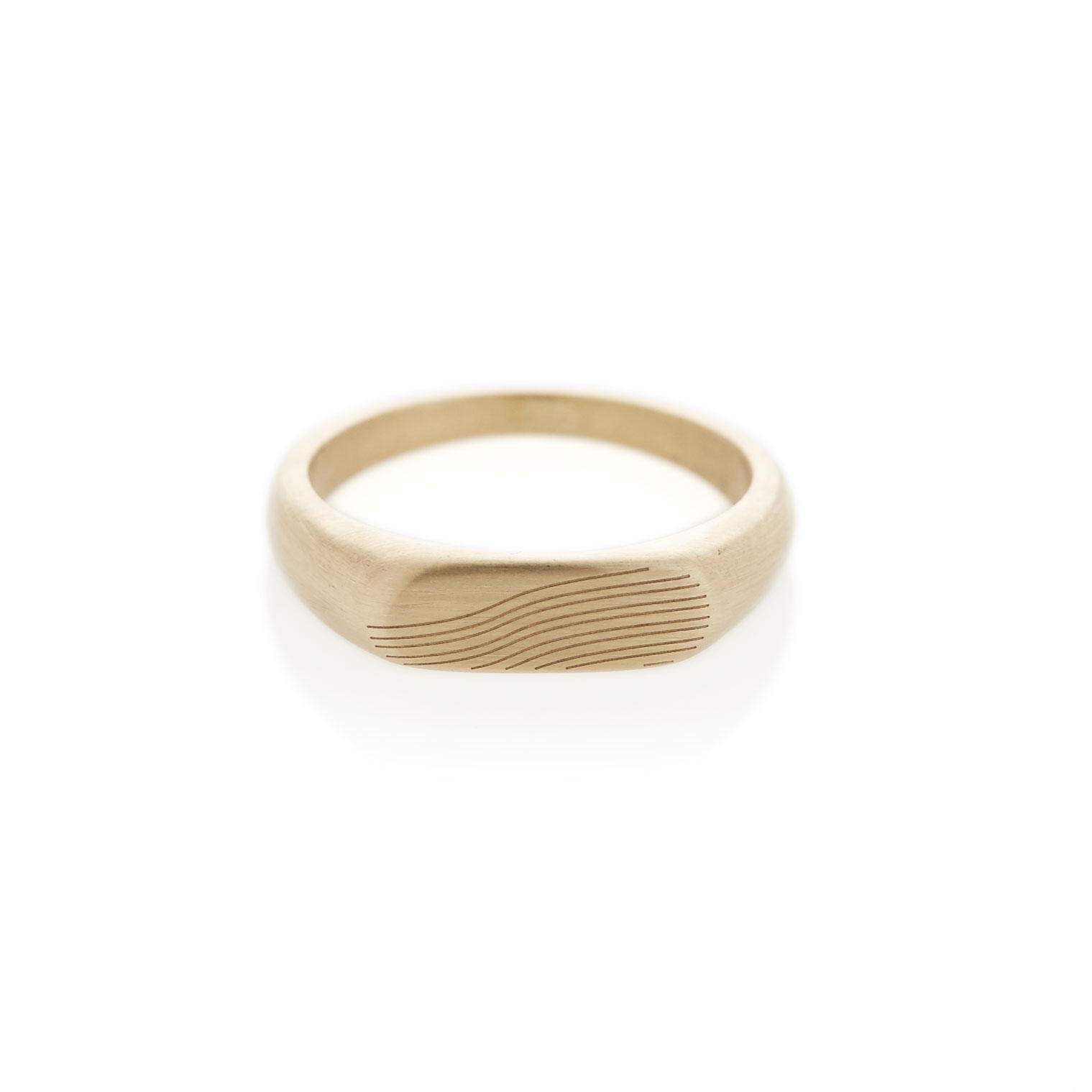Slope yellow gold landscape signet ring