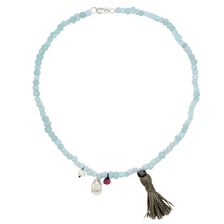 Small Beetle Tassel Necklace in Light Blue