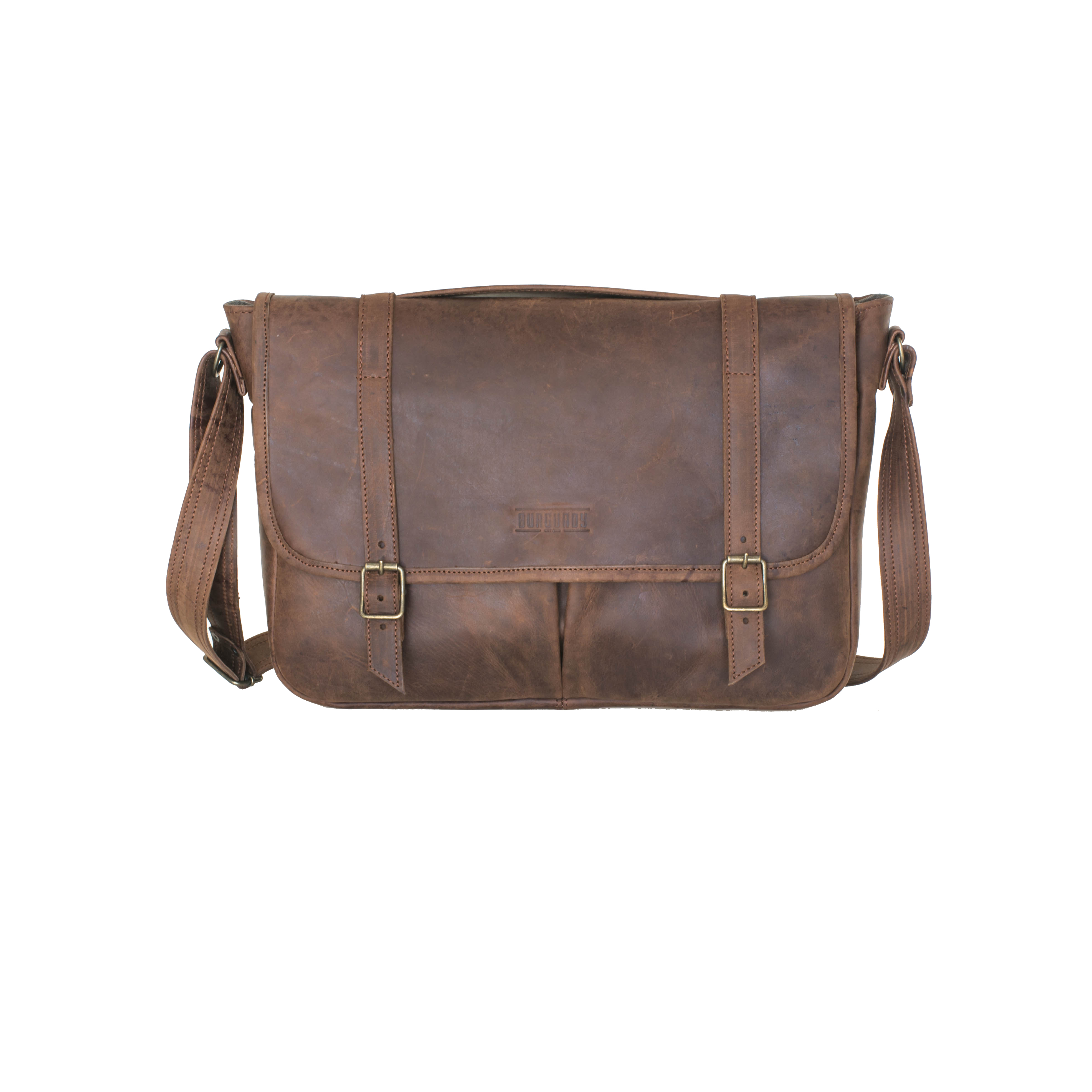 The Satchel is a structured briefcase, able to stand on its own. A low-slung bag with a casual feel, it has a long adjustable strap and can be worn on the shoulder or across the chest. Perfect for your 13 or 15 inch laptop and extras.    FEATURES   Front exterior file pocket Back exterior file pocket Back exterior zip pocket Interior padded with foam for laptop protection Cotton canvas lining Interior divider / two compartments Interior small file pocket suitable for mobile phone, keys and a wallet     DIMENSIONS  H 30cm x W 40cm x D 12cm