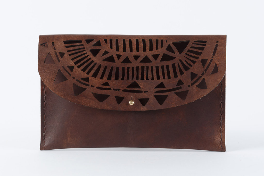 The Temple clutch is handcrafted using locally sourced vegetable tanned cowhide. 