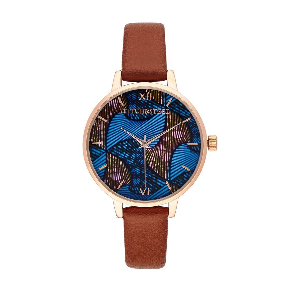 Find your balance between style and practicality with this blue and brown intertwined straw watch print watch. It is a beautiful representation of unity in diversity. It is both bold and classy, and a compliment to any outfit. It was designed for the conservative lady who has an appreciation for the finer things in life.