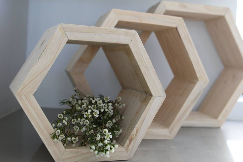 Thick Pine used to create three sizes of honeycomb shelves.