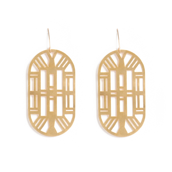 Art deco structures are scattered over Cape Town lke gems - they stand between decorative older structures and modern facades. These geometric earrings are inspired by a design aesthetic rather than any specific building. Geometric and considered, they are a classy nod to a time gone by. Available in yellow gold plated brass with rolled gold hooks. Size: 6.5cm long x 3.5cm wide on elegant drop hooks.