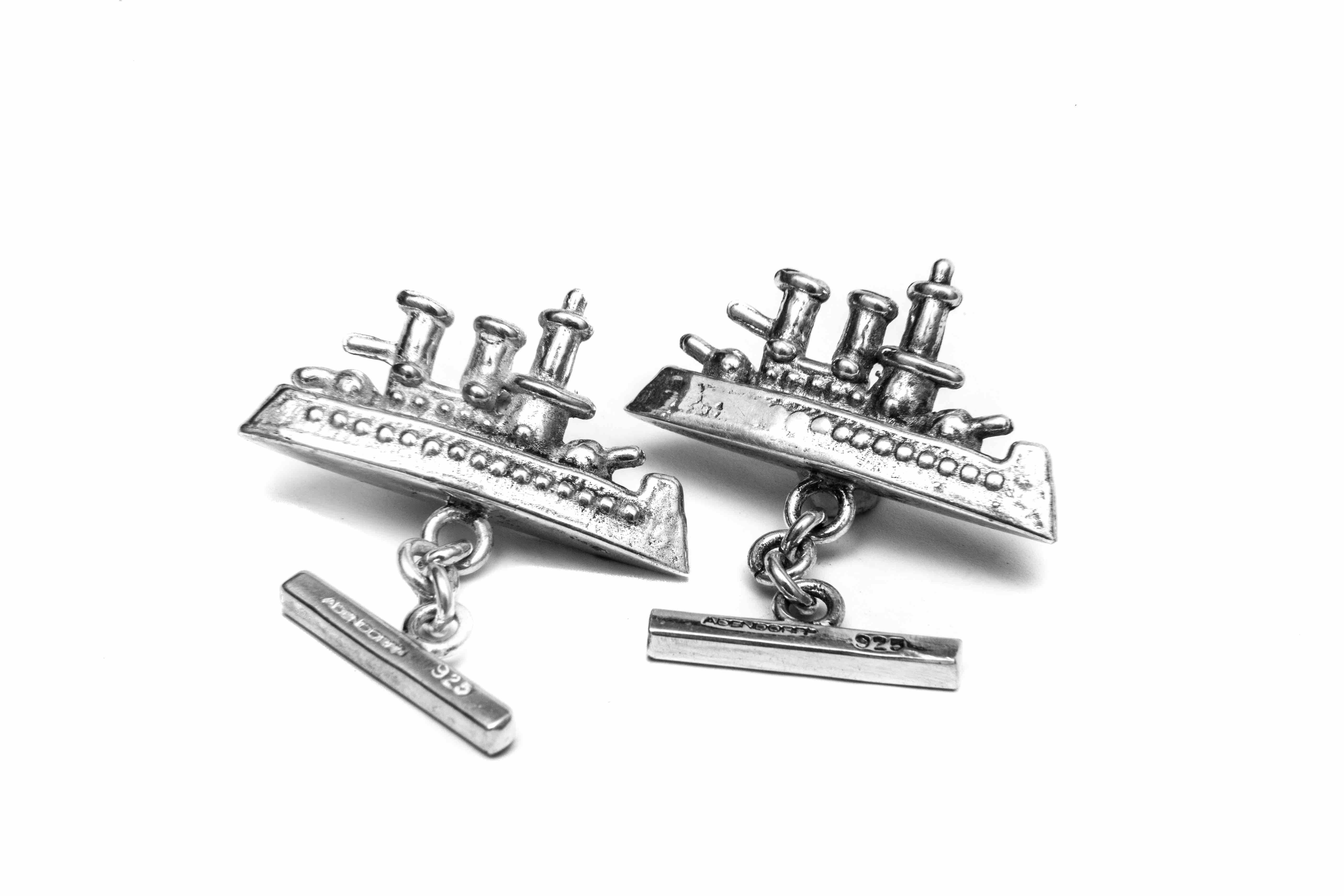The Monopoly Ship Cufflinks have been appropriated fromactual Monopoly ships, from the board game, so set sail and let this pair of silver ships complete your suite.