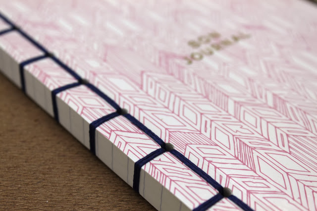 A5 Handstitched notebook with letterpress and gold foiled cover