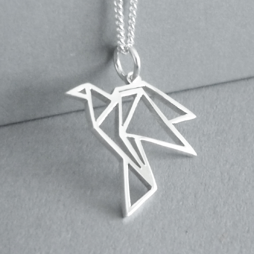Cute little hand-cut sterling silver flying bird pendant - inspired by origami design..