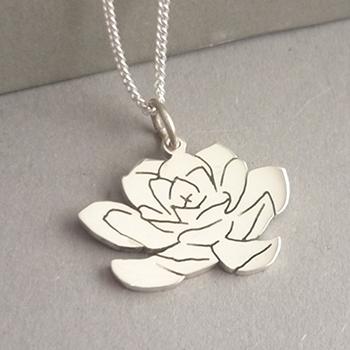 Succulent Silver Pendant