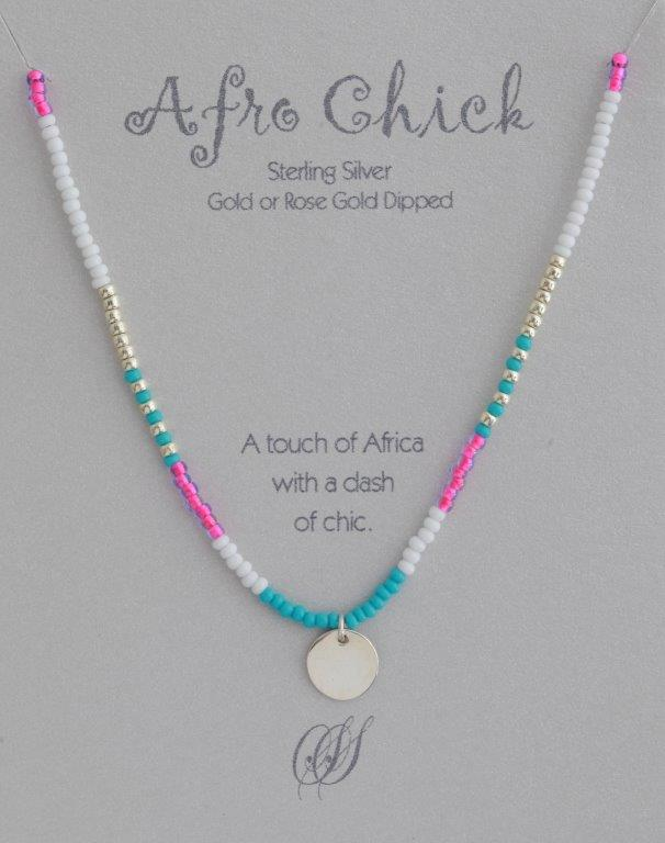 Afro Chick Necklace - Silver, white, turquoise and pink