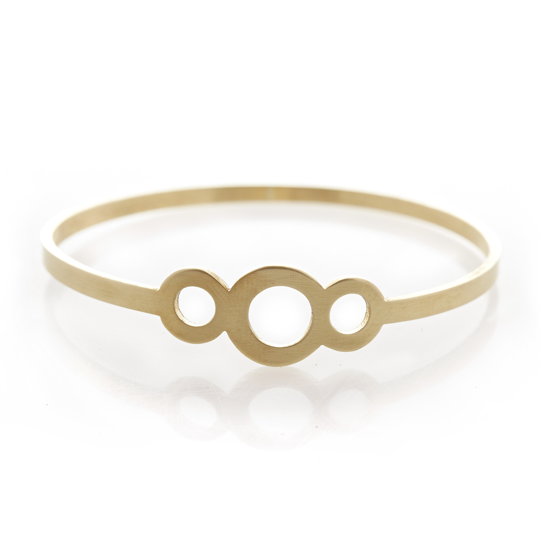 Three circle brass bangle