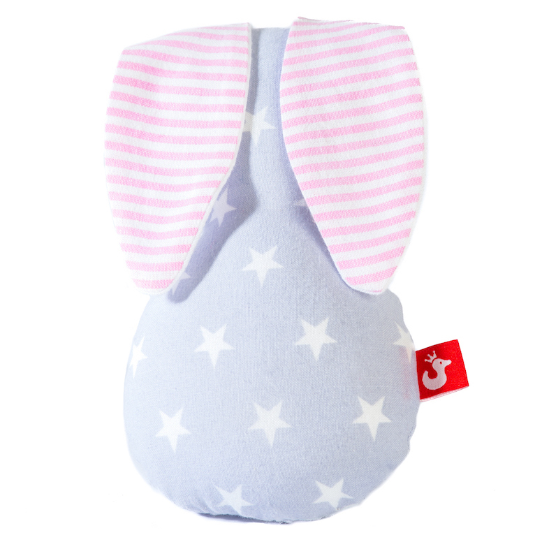 PRODUCT DESCRIPTION   100% pre-washed cotton can be washed at 30°C (rattle disc is watertight) anti-allergenic due to micro-fibre filling designed for even the smallest hands to hold onto gentle rattling sound no small parts Size:17 x 11cm