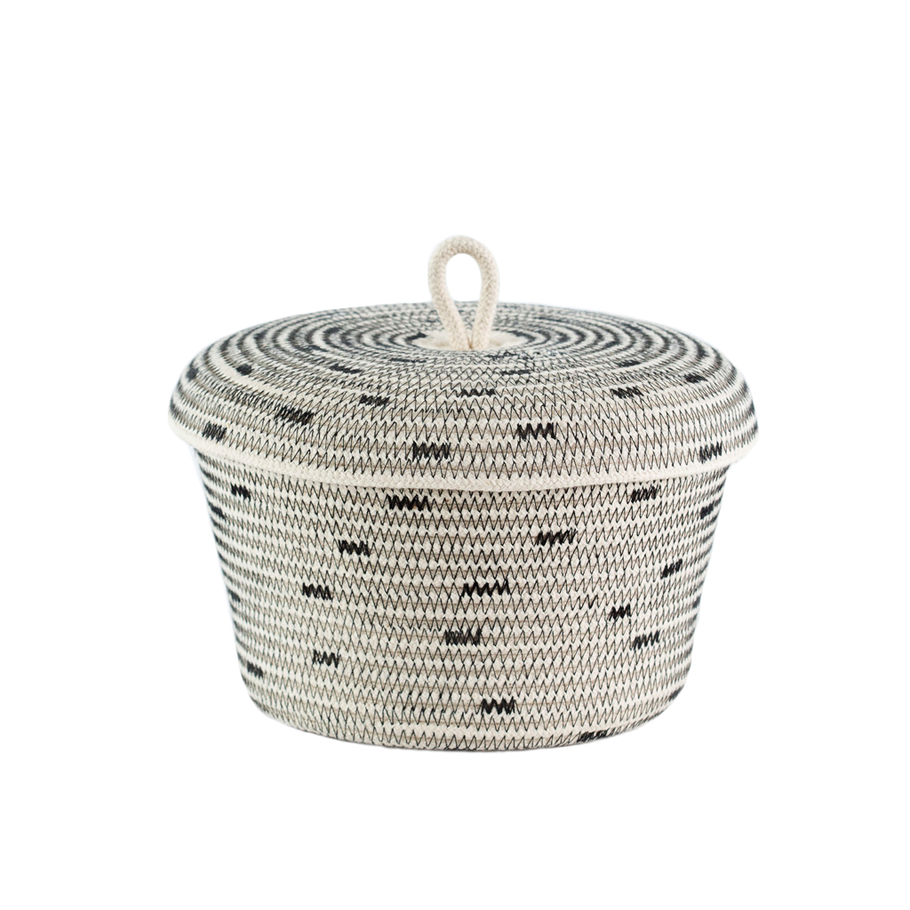 This littlebasket willstoreyour odds and ends with style! Its great forholding bathroom essentials, jewellery,makeup, miscellaneous collections or pretty much anything else your heart desires.  Approx. Size:  D19x H10cm D7.5x H4inches.  Our baskets are made from 100% cotton rope and sewn together in a coiling technique. These unique hand crafted vessels are soft yet durable and provide a modern twist on the ancient African tradition of basket weaving. Each item is carefully designed and no two are exactly alike.Shape and pattern may slightly vary from item to item.  Care: spot clean with water and soap, or hand-wash gently.  Kindly note, we ship within 1-3 business days.  All our baskets can be made to order when out of stock and will take up to 2 weeks to ship. Please don't hesitate to contact us with any inquiry you may have.