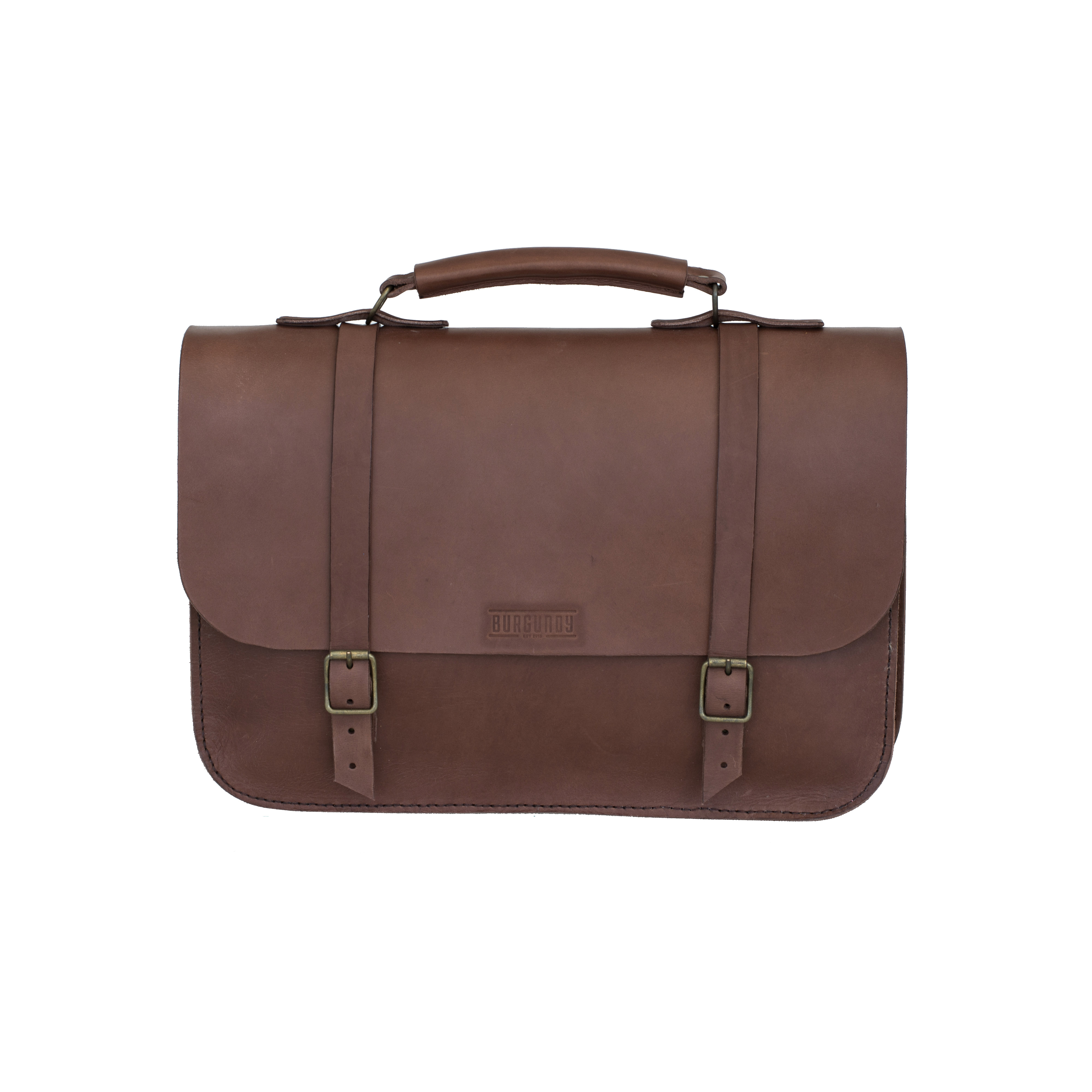 """Hand stitched from premium vegetable tanned leather. Perfect for the day-to-day business man. Well crafted and structured to carry all the business essentials and personal smalls.    FEATURES:   Fits 15"""" Laptop 2 x Interior compartments 1 x File pocket for pens & smalls     DIMENSIONS :  H 28cm x W 42cm x D 12cm"""