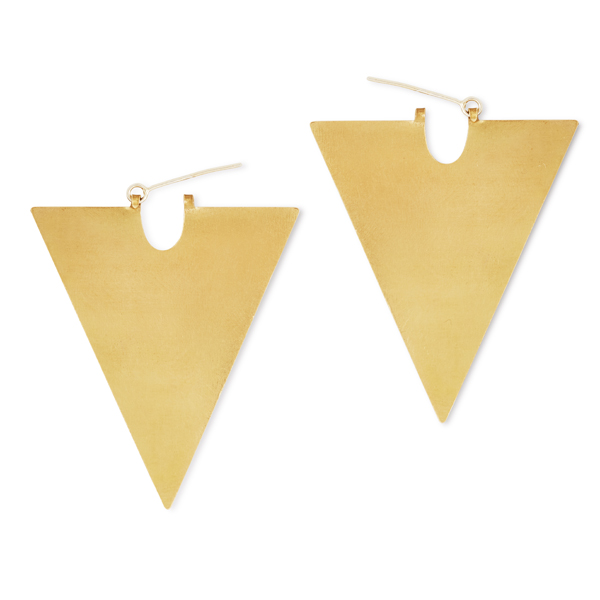 Long Triangle Brass Shape Earringsnon allergenic silver gold plated with brass anti tarnish coating