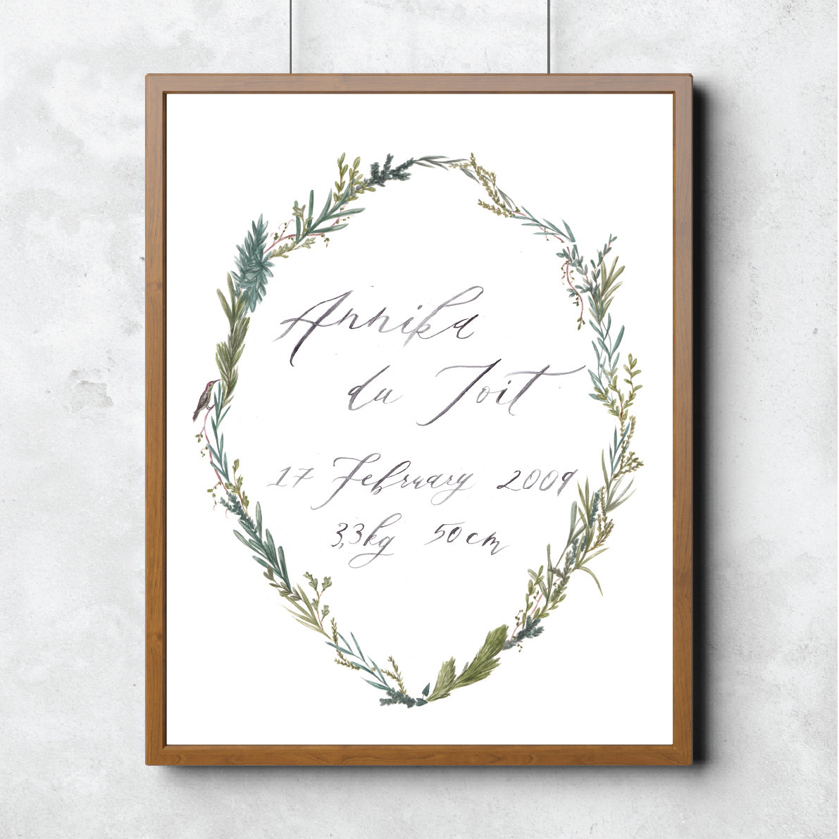 Custom Calligraphy Wreath Print