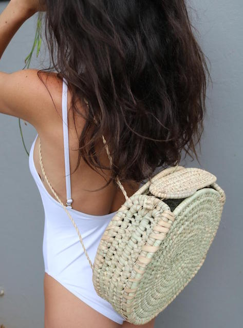Woven Round Backpack