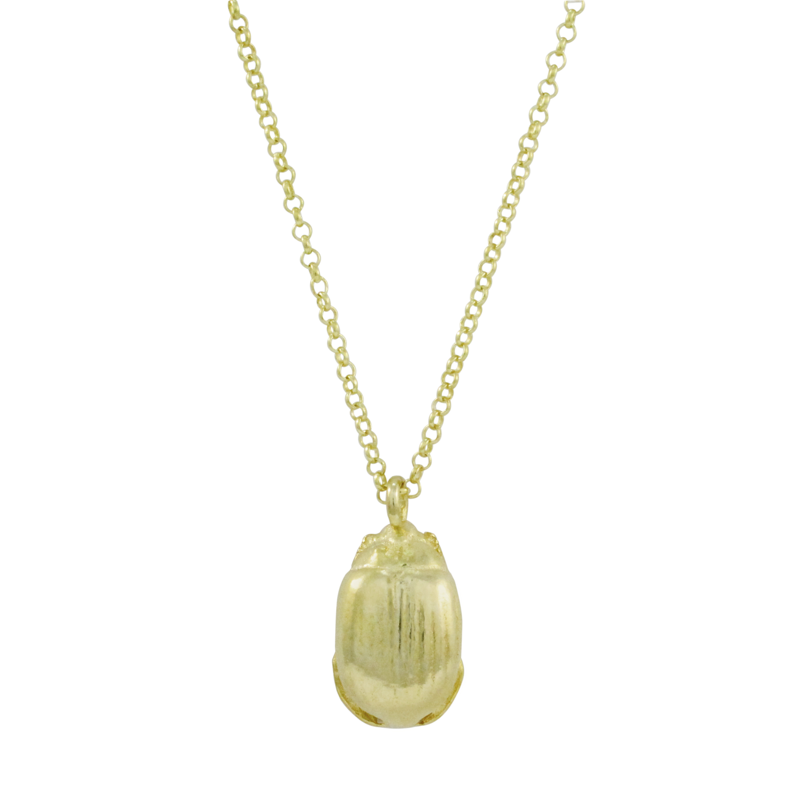 9ct Yellow Gold Small Beetle Necklace