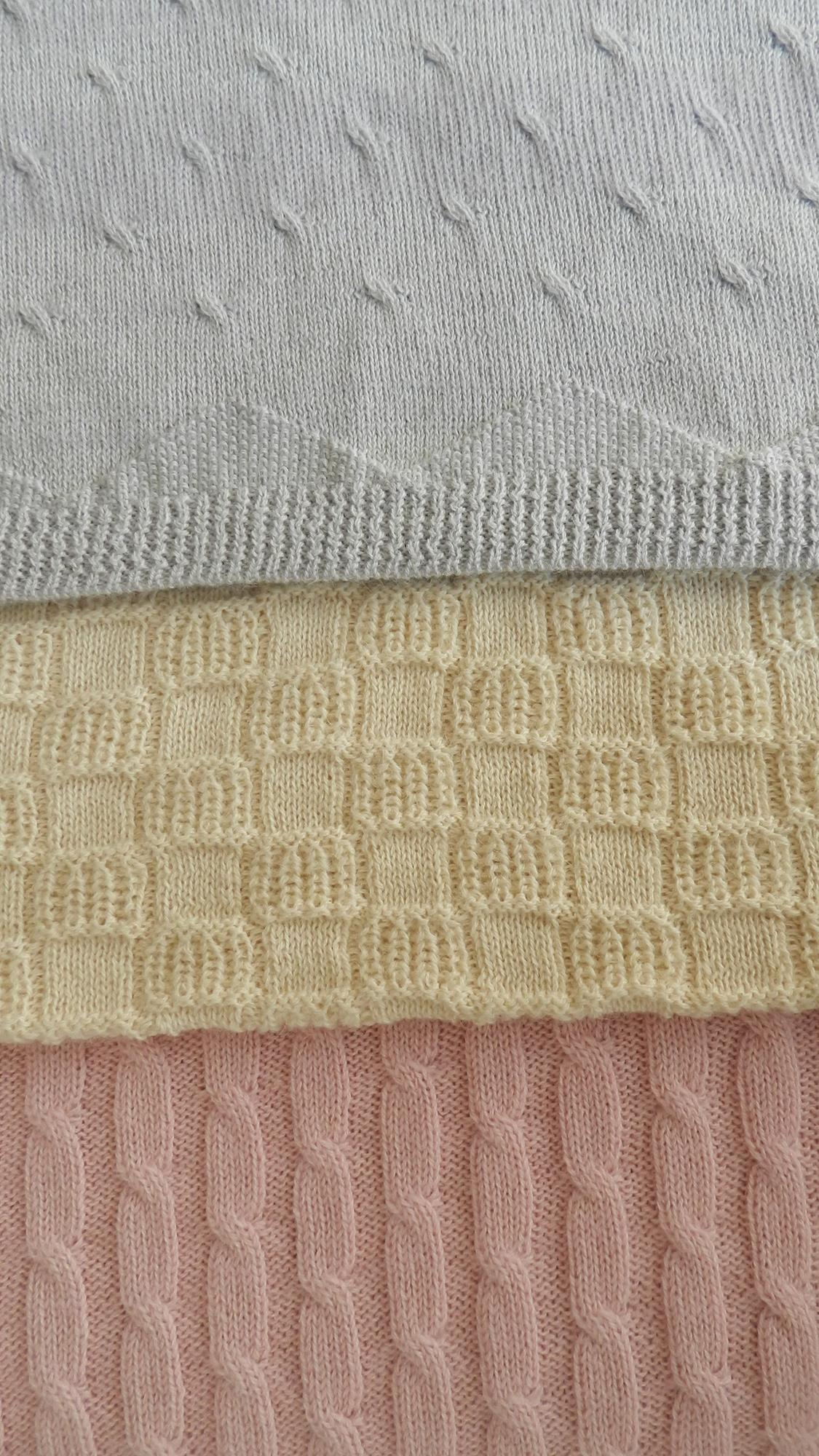BABY BLANKET - made using 70% Superfine Alpaca and 30% Cotton in 3 different styles , Twist / Cable or Basket ,and 3 colours being Pink / Blue and White