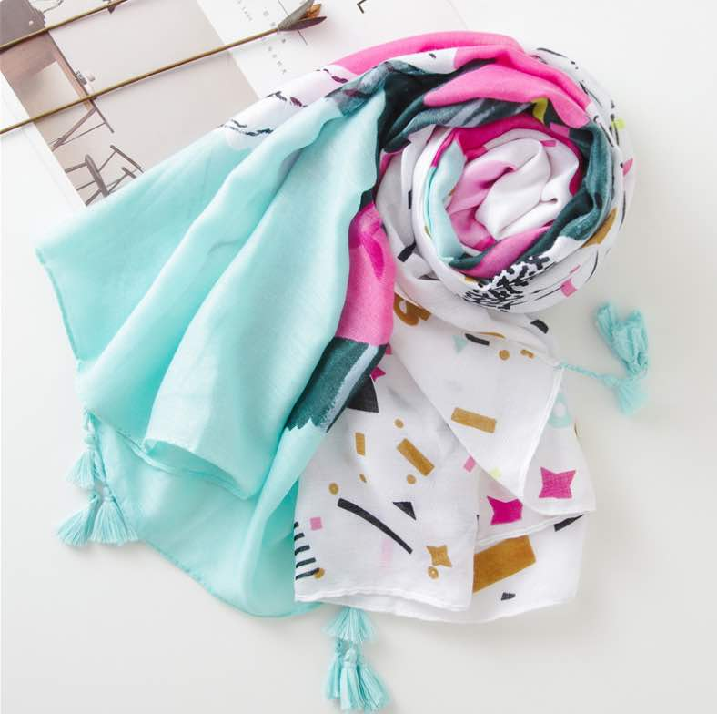 Abstract print scarf blue pink on white