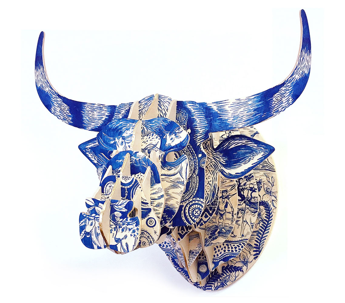 This beautiful Delft Nguni bull sculpture, painted by Cape Town artist Sharon Boonzaier, is inspired by the Far East's blue patterning used on European delft ceramics and then brought to the Cape by the Dutch settlers in the 1600s. All this infused with the cultural history of the Cape, where the San already lived and thrived, trading with passing ships.