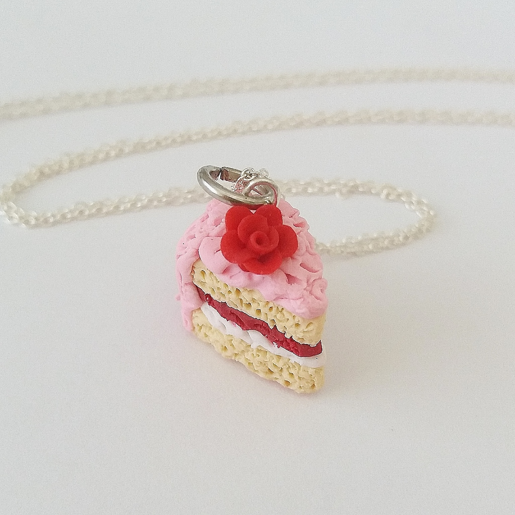 Strawberry Jam & vanilla cake Charm/ Necklace